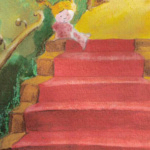 illustration, children's book, child, kind, trap, stairs, evening