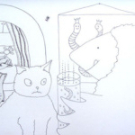 pencil illustration, illustration, pencil, mole, mol, cat, kat, children's book, kinderboek
