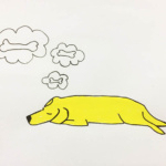 dreaming, yellow, dog, hond, bot, bone, illustration, Newyorker