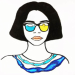 Sealove, selfie, illustration, illustratie, vrouw, zee, Woman, Fish, vis, bril, glasses