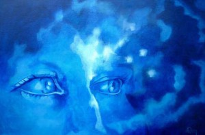 Out of the blue, acryl op doek